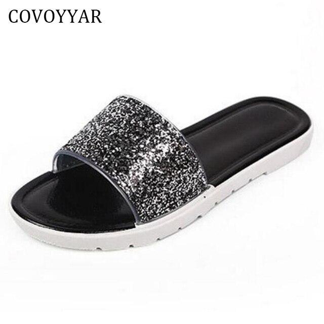 c7bbee140 2019 Fashion Summer Bling Flat Sandals Women Solid Glitter Slides Slippers  Beach Casual Women Shoes Slip