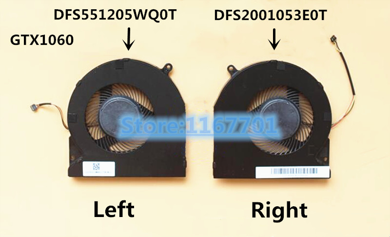 New Original Laptop/Notebook CPU/GPU Cooling Fan For Razer Blade 15 15.6 GTX1060 RZ09 RZ09-02385E92 DFS2001053E0T DFS551205WQ0T image