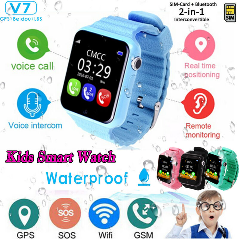 V7 Waterproof Kids Smart Watch Anti-lost Safe GPS LBS Tracker SOS Call Children Smart Watch Phone For Android iOS