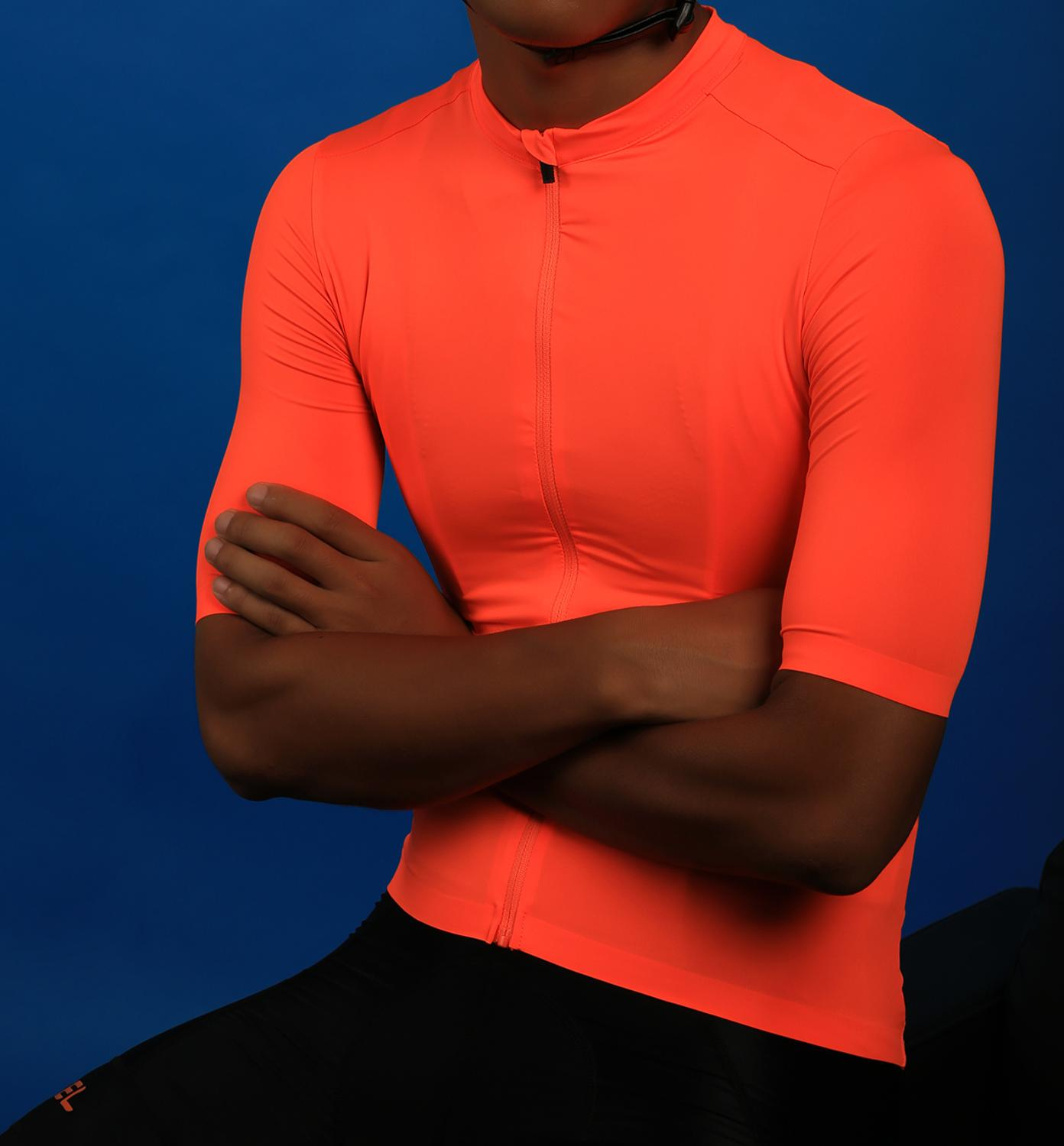 SPEXCEL 2019 upadte Bright Orange Top Quality Short sleeve cycling jersey pro team aero cut with last Seamless process road mtb