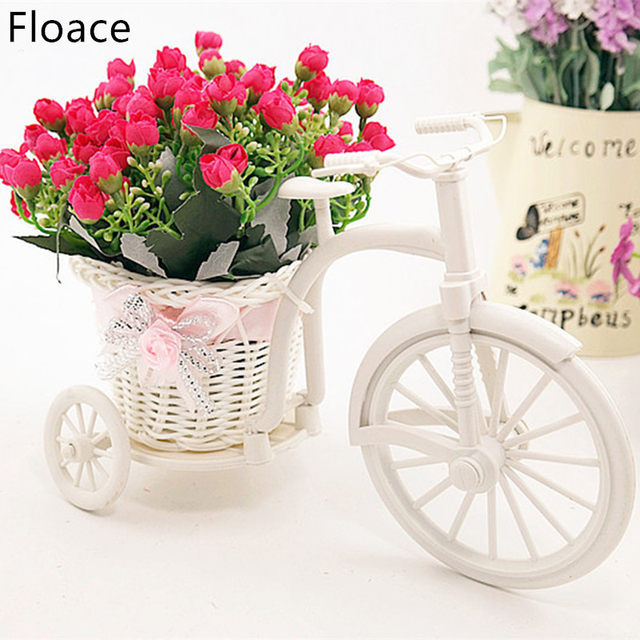 Floace High Quality Rattan Vase + Flowers Meters Spring Scenery Rose  Artificial Flower Set Home Decoration Birthday Gift