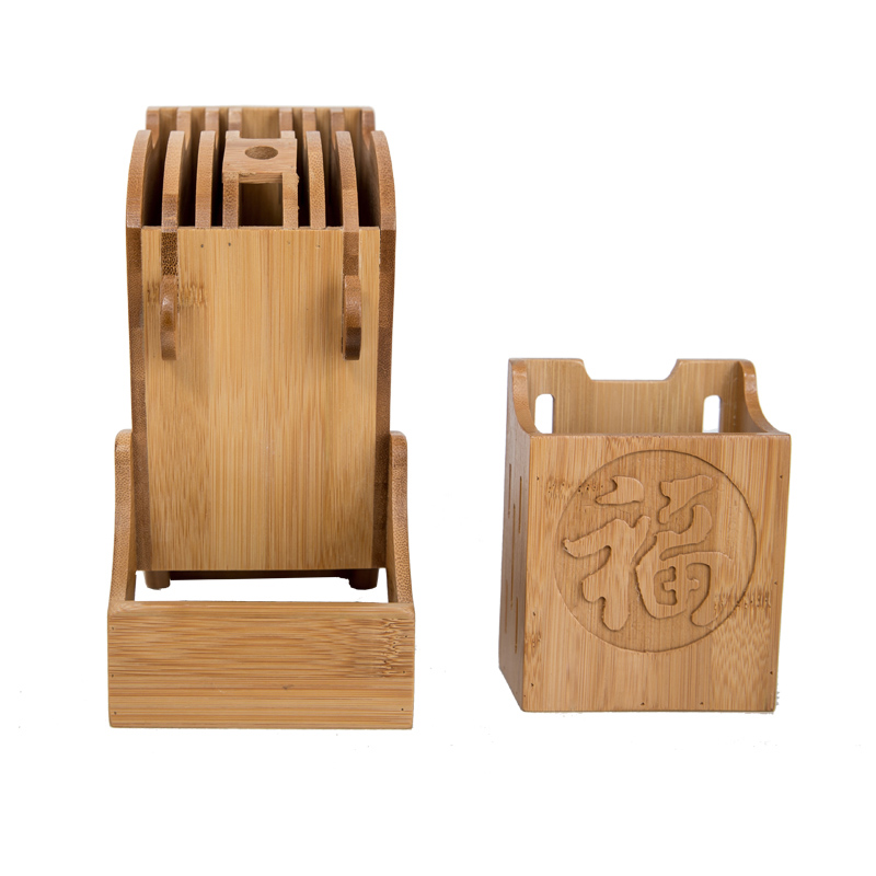 Creative Kitchen Wood Knife Holder For Chopsticks Fork Scissors Storage Box Bamboo Knife Block Stand Cooking Tool 3