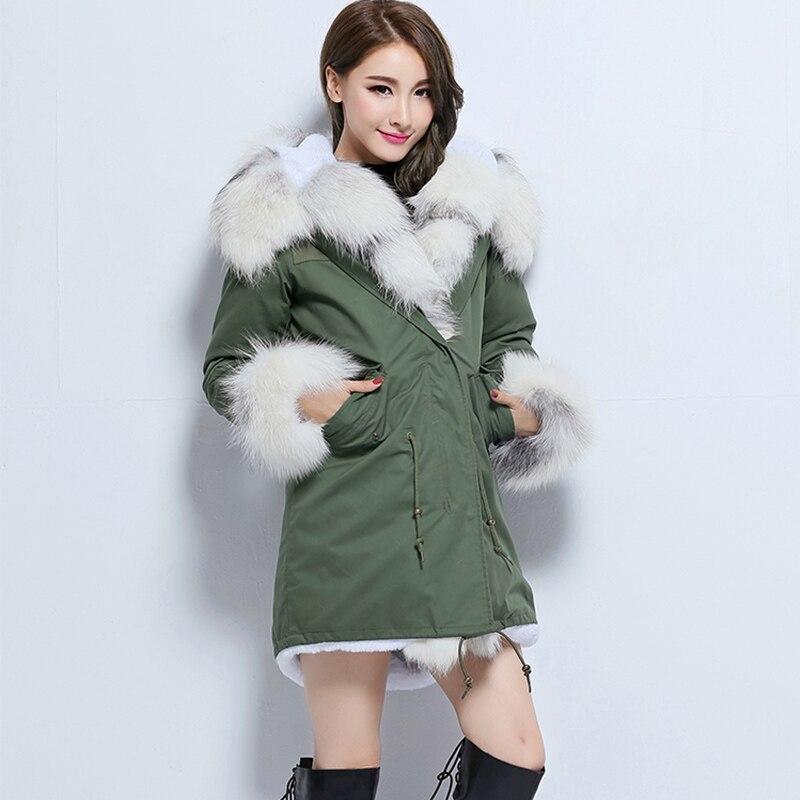 Hiver Armée Épais Long Parka Nouvelles De Vert Green Outwear Fox Chaud Fourrure Femmes Naturel Réel Col Manteau 2018 Veste wIAZ4aw