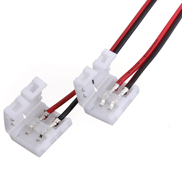 10x Wire With 8mm 2 Pin Accessories Adapter At 1 End For 3528 5050 Single Color LED Strip Light Solderless