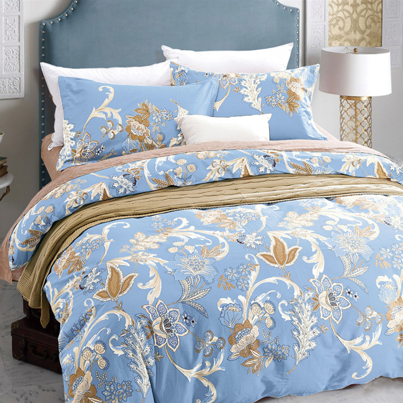 Home Textile King Queen Twin Bed Linen Girl Kid Teen Bedding Set Blue Leaf Duvet Quilt Cover Pillowcase Flat Bed Sheet