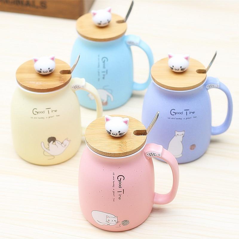 450ml Cartoon Ceramics Cat Mug With Lid and Spoon Coffee Milk Tea Mugs Breakfast Cup Drinkware 450ml Cartoon Ceramics Cat Mug With Lid and Spoon Coffee Milk Tea Mugs Breakfast Cup Drinkware Novelty Gifts