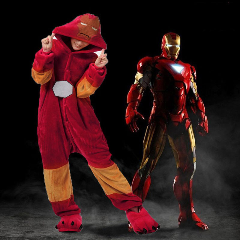 2018 New Superhero Capes Iron Man Anime Cosplay Movie Costume Jumpsuit Sleepwear Women Adult Onesie Pajamas Soft Fleece Pyjamas