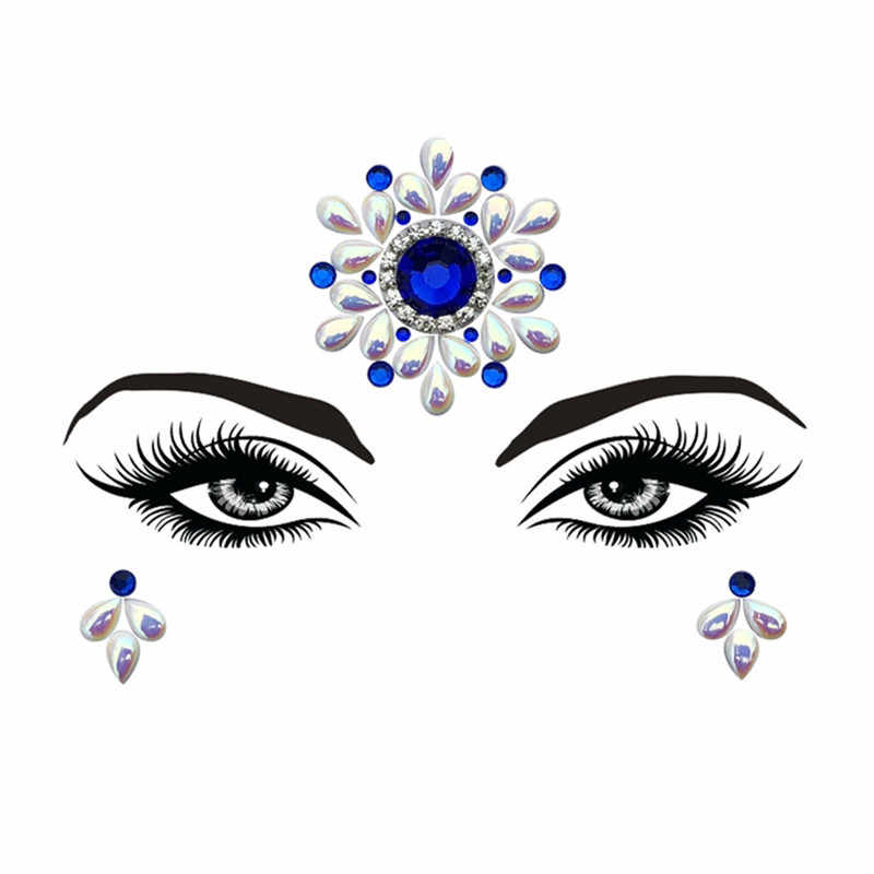 ... 1Pc Adhesive Resin Face jewels Gems Temporary Tattoo Face Jewels  Festival Party Body Gems Rhinestone Bindi e372527d31c8