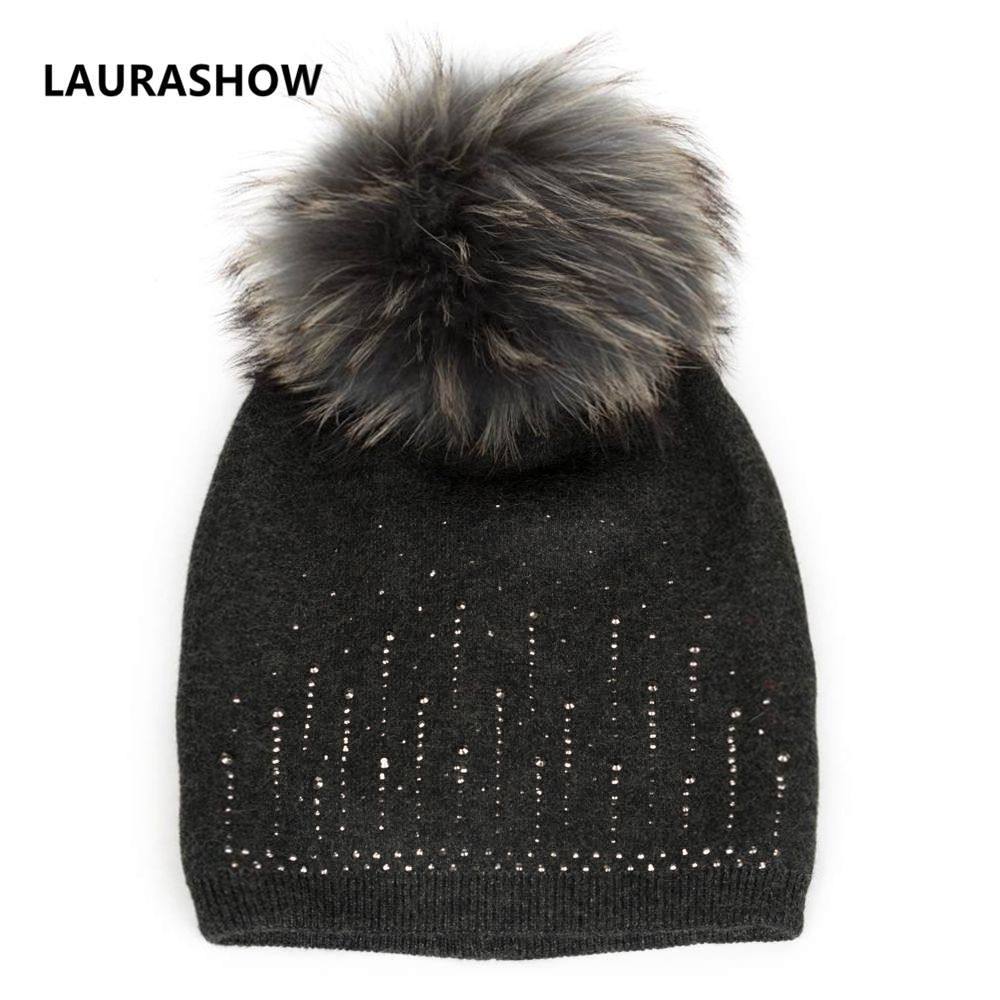 LAURASHOW Women's Winter Hat Fox Fur Ball Pompoms Wool Knitted Hat The Female Of The Mink Hats For Women Lady Beanies