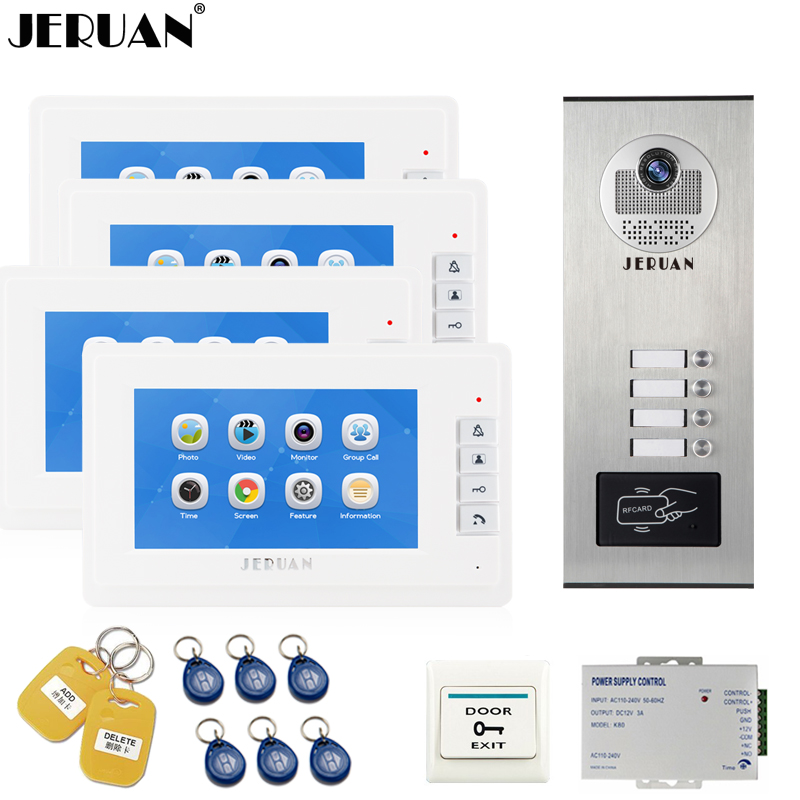 JERUAN 7 inch Video Door Phone Record Intercom system RFID Access Entry Security Kit For 4 Apartment Camera to 4 Household jeruan 7 inch video door phone record intercom system rfid access entry security kit for 4 apartment camera to 4 household