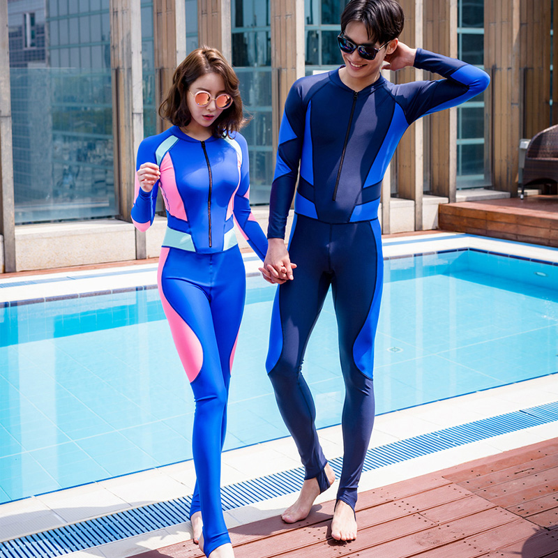 2018 VERZY new solid royal dark blue lovers rash guards surfing diving swiming wet suit for couples long sleeves pants one piece