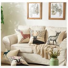 Nordic Styles Geometric Bear and Deer Home Decor Pillow Linen Cotton Cushion Decorative Throw Pillows Car cushion Free Shipping