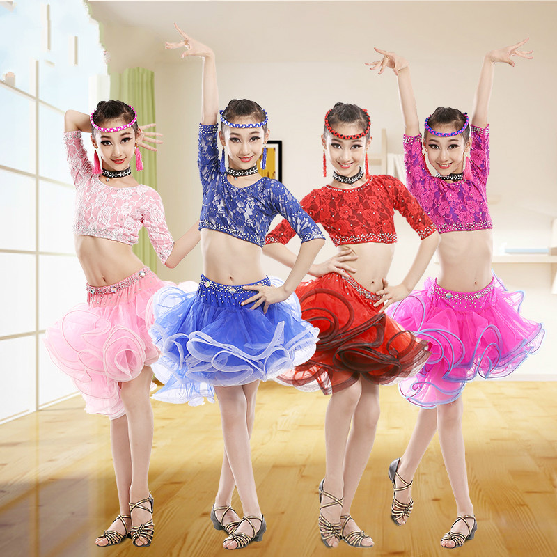 Multicolor Lace Latin Dance Dress for Children Sexy Latin Ballroom Dress for Stage Show Tango Dance Dresses Adult Dance Wear 89