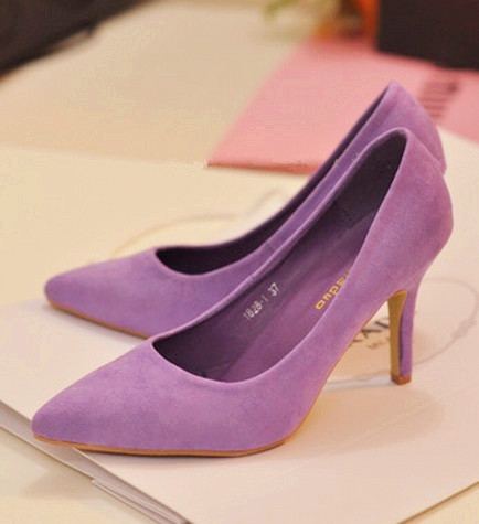 2013 ice cream velvet pointed toe purple dress shoes Women Ladies ...