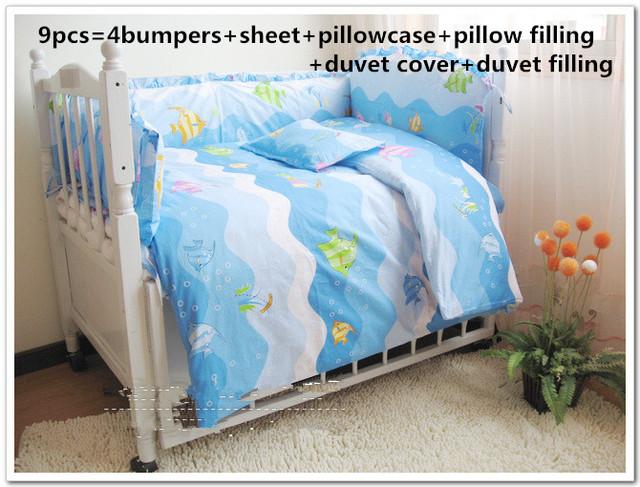 Promoção! 6/7 P/9CS oceano berço conjunto fundamento do bebê cortina de algodão crib bumper berço conjuntos de cama de bebê pára, 120*60/120*70 cm