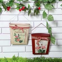 Red beige Iron Flower Pot Wall Hanging Basket Pastoral Container Creative Gifts Garden Supplies