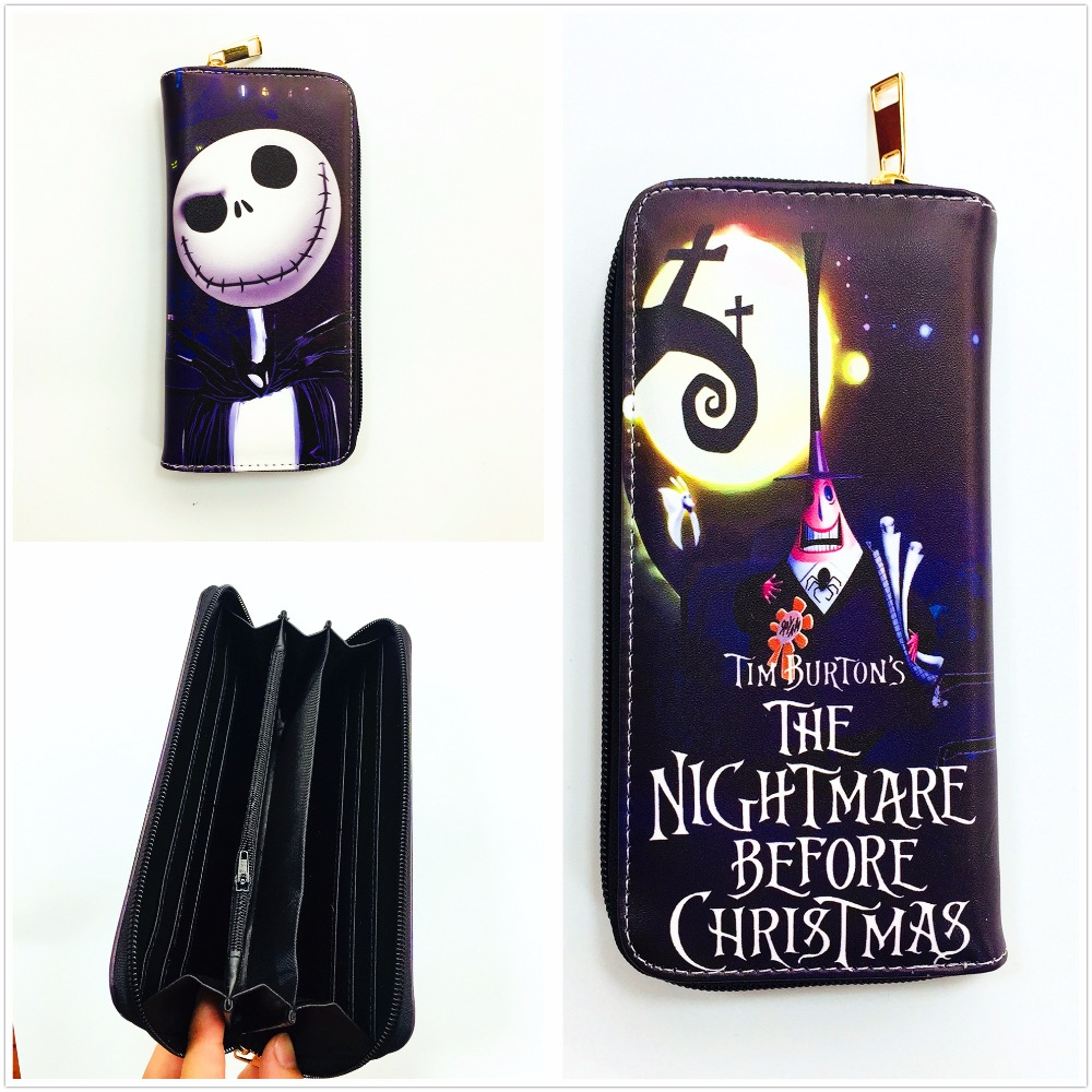 New Arrivel The Nightmare Before Christmas Jack Anime Long Wallets Mens Leather Pu Wallet Cartoon Purse L075