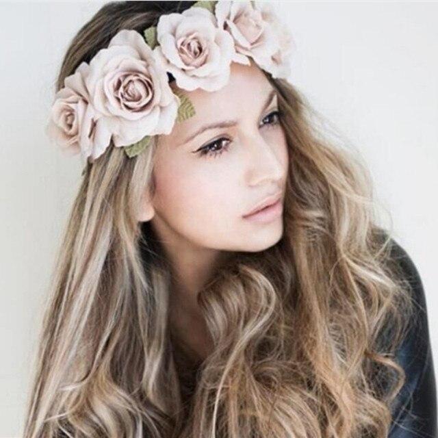 EVER FADA Nova Peônia das Mulheres Bohemian Floral Faixa de Cabelo Scrunchy Headbands  Headband Da Flor bbba6df1a83