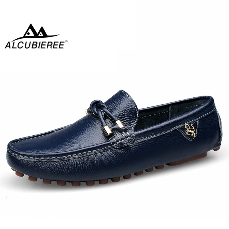 ALCUBIEREE Brand Loafers For Man Casual Driving Shoes Male Slip-on Mocassin Soft Breathable Men Flats Men Gommino Boat Shoes