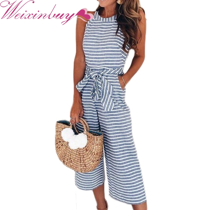 WEIXINBUY New Striped Bow Tie Jumpsuits Strapless One ...