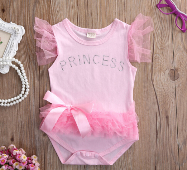 Princess Baby Bodysuits Hot 2017 Brand Pink Lace Spliced Letter Bow-knot Infant Clothing Baby Girls One-piece Bodysuit ...