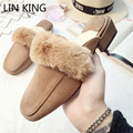 LIN KING Suede Winter Warm Lazy Slippers Square Toe and Heels Plush Indoor Shoes Women Homme Slippers Bedroom Pantofole Donna