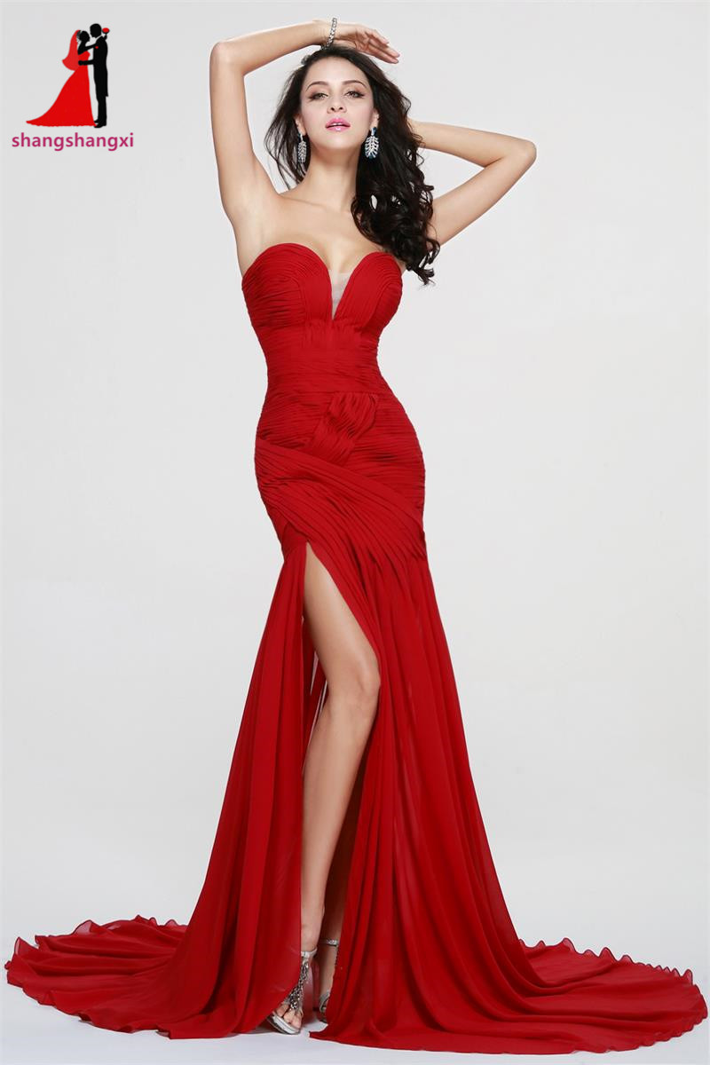 Sexy Red Long Evening Prom Dresses 2017 V Neck Side Slit