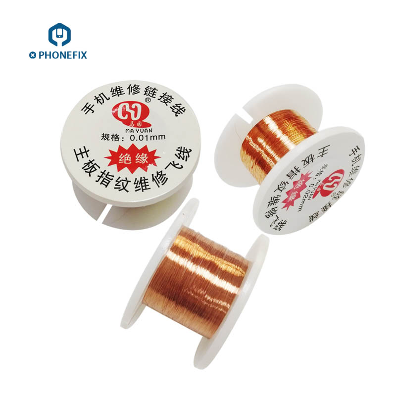 PHONEFIX 0.01mm 0.02mm yalıtımlı bakır bağlantı tel PCB tamir için Jumper tel iPhone anakart PCB kaynak onarım aracı|El Aleti Setleri|Aletler -