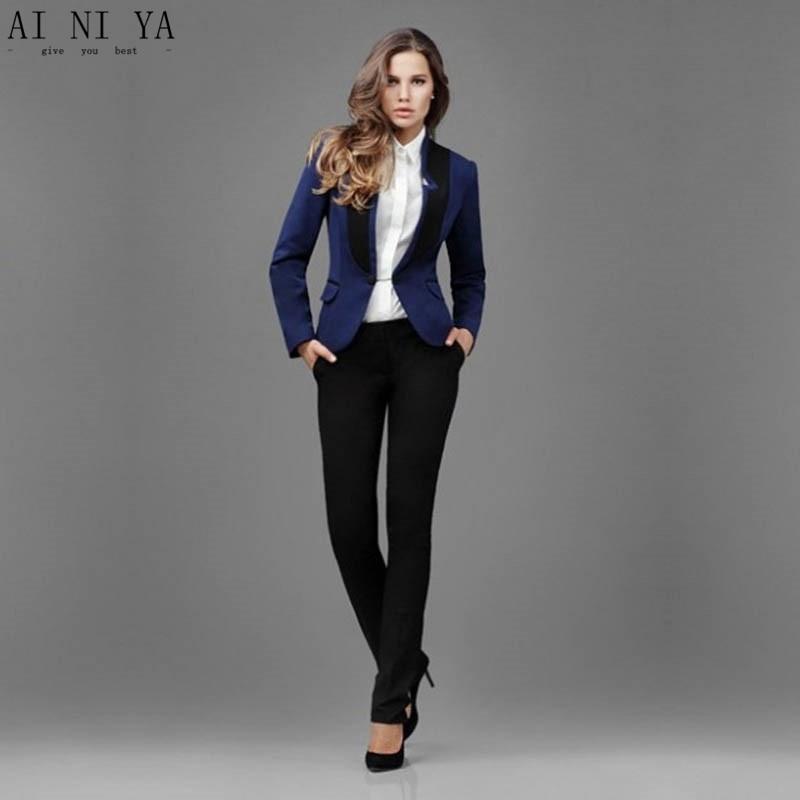 Women Business Suits Dark Blue Jacket Black Pants 2 Piece
