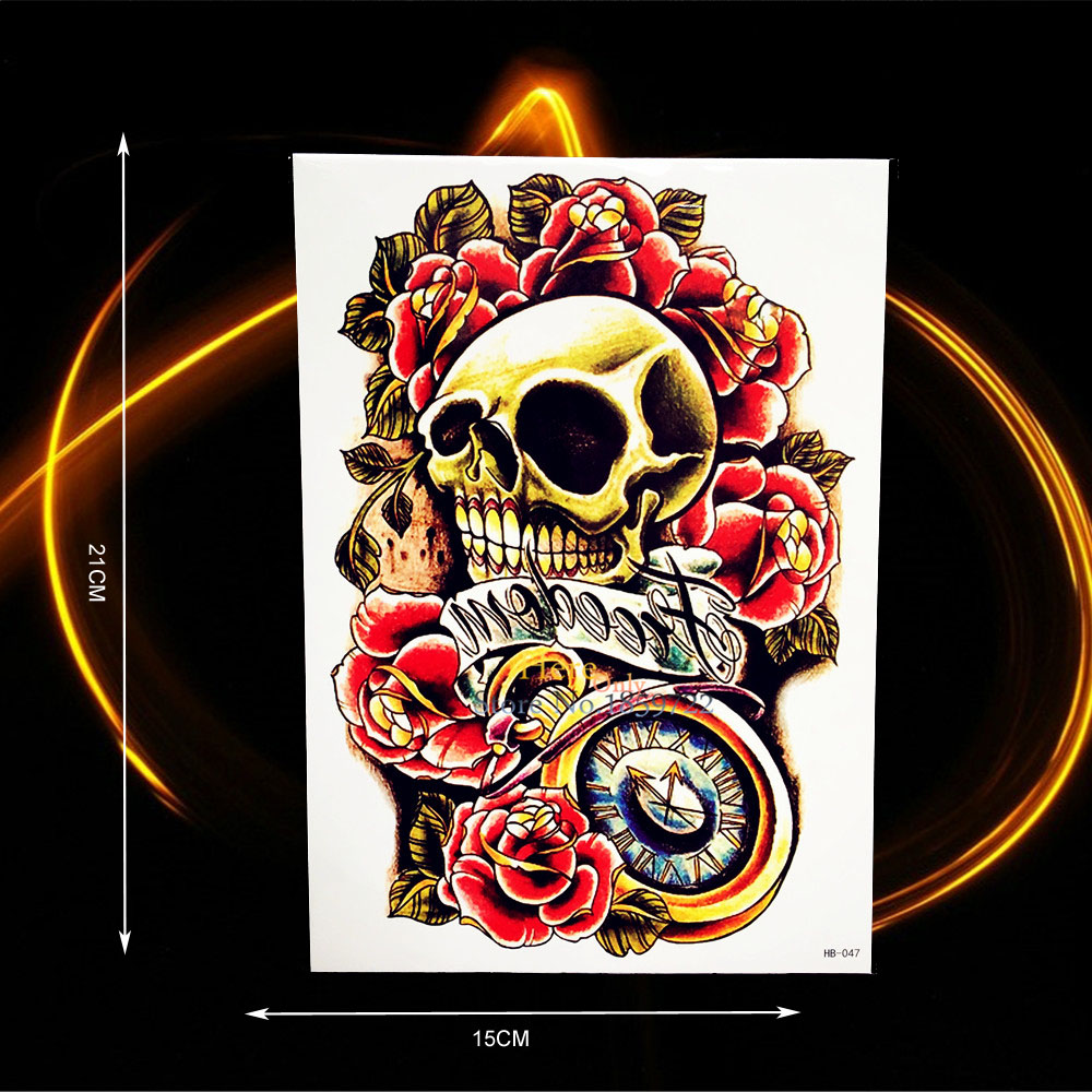Skull Henna Tattoo: Henna Death Skull Head Compass Temporary Tattoo Stickers