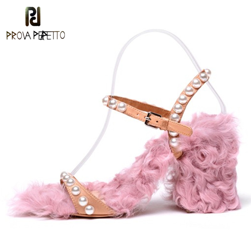 Prova Perfetto 2018 Hottest Style Women Sandals Pumps Summer Brand Fur High Heel Shoes Women Party Shoes High Heels Fur Slippers