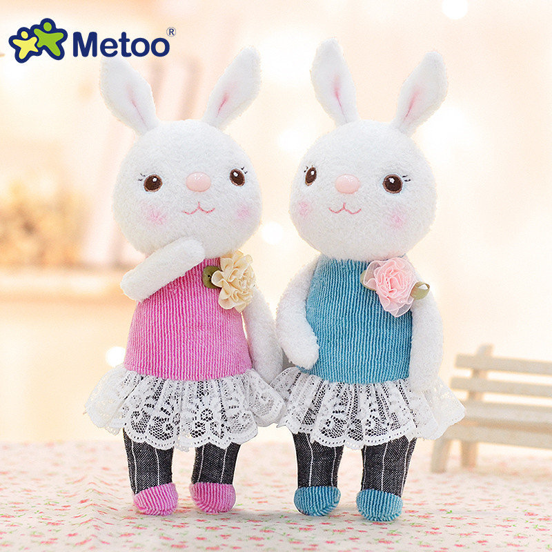 1 pairs METOO Plush Tiramitu Cute Bunny Doll Cartoon Metoo Toys with Scarf Stuffed Tiramisu Rabbit Doll Best Gifts for Kids 9 stuffed animal 120 cm cute love rabbit plush toy pink or purple floral love rabbit soft doll gift w2226