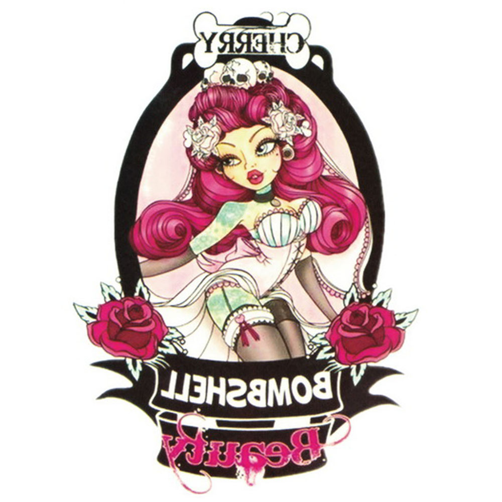 Yeeech Temporary Tattoos Sticker Harajuku Bombshell Lady Skull in Mirror Rose Bone Cherry Designs for Men Women Arm Leg Body Art