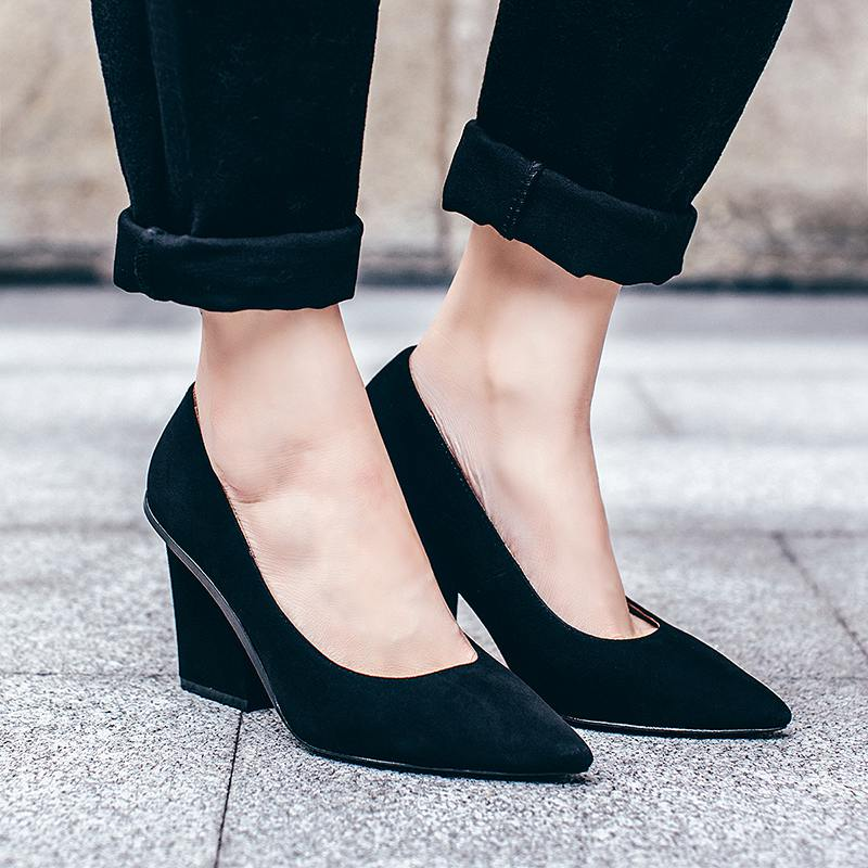 2017 new women brand shoes thick high heel women pumps pointed toe shallow party office career women shoes high quality models 2017 new fashion brand spring shoes large size crystal pointed toe kid suede thick heel women pumps party sweet office lady shoe