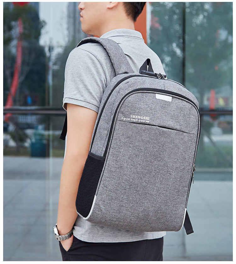 Для мужчин рюкзак зарядка через usb школьный рюкзак Anti Theft хлопок + нейлон Путешествия Daypacks повседневное студент Bookbags Лидер продаж