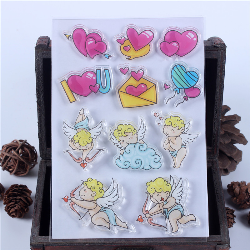 Rubber Silicone Clear Stamps for Scrapbooking Tampons Transparents Seal Background Stamp Card Making Diy Cupid LOVE Text Stempel