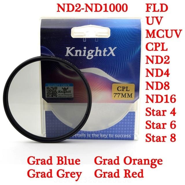 KnightX CPL 52mm 58mm 67MM 77MM Star FLD UV color nd lens Filter for Canon Nikon d5200 d3300 100d D3100 D3200 D5100 300d 1200d