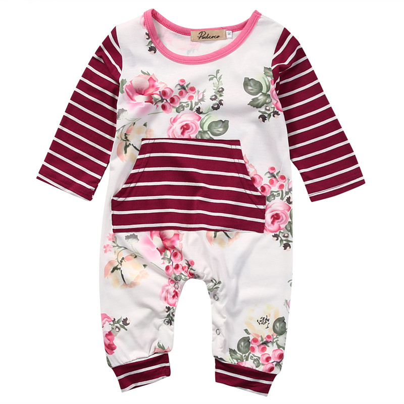 Pudcoco Cotton Newborn Infant Kids Baby Girls Floral Long Sleeve Romper Jumpsuit Playsuit Clothes Outfits Toddler Girls Clothing pudcoco newborn infant baby girls clothes short sleeve floral romper headband summer cute cotton one piece clothes