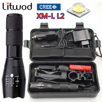 02Z40 LED Flashlight L2 Flashlight Torch Lamp Powerful Tactical Emergency Defensive Hunting Gun Mount Torch Battery