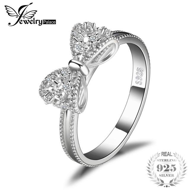JewelryPalace Bow Cubic Zirconia Anniversary Wedding Ring For Women Soild 925 St