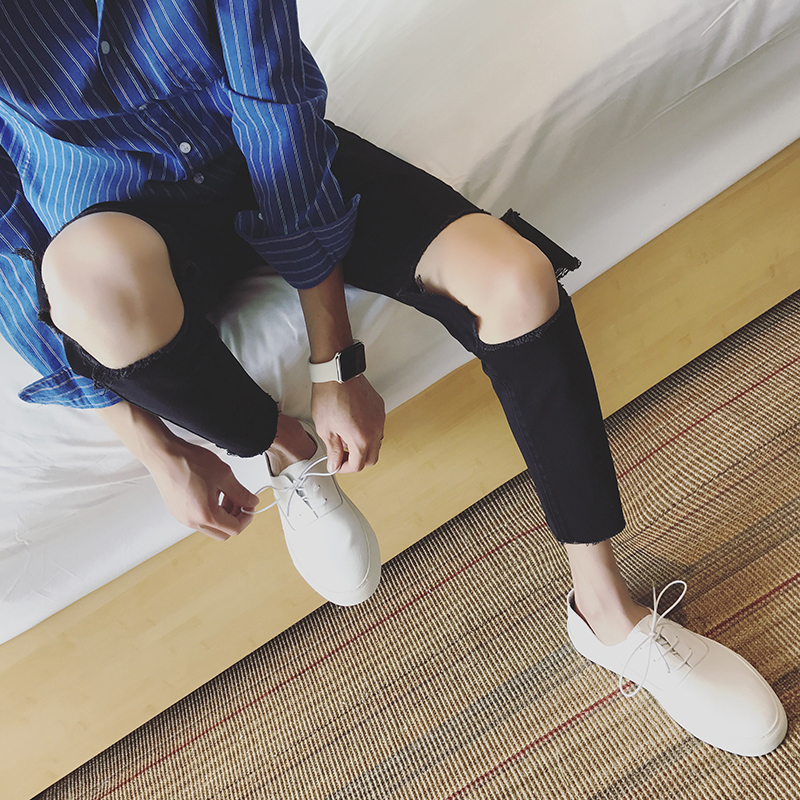 Pants Summer Tide Male Easy Holes Nine Part Personality City Boy Trend Exquisite Black hip hop skateboard streetwear Fashion