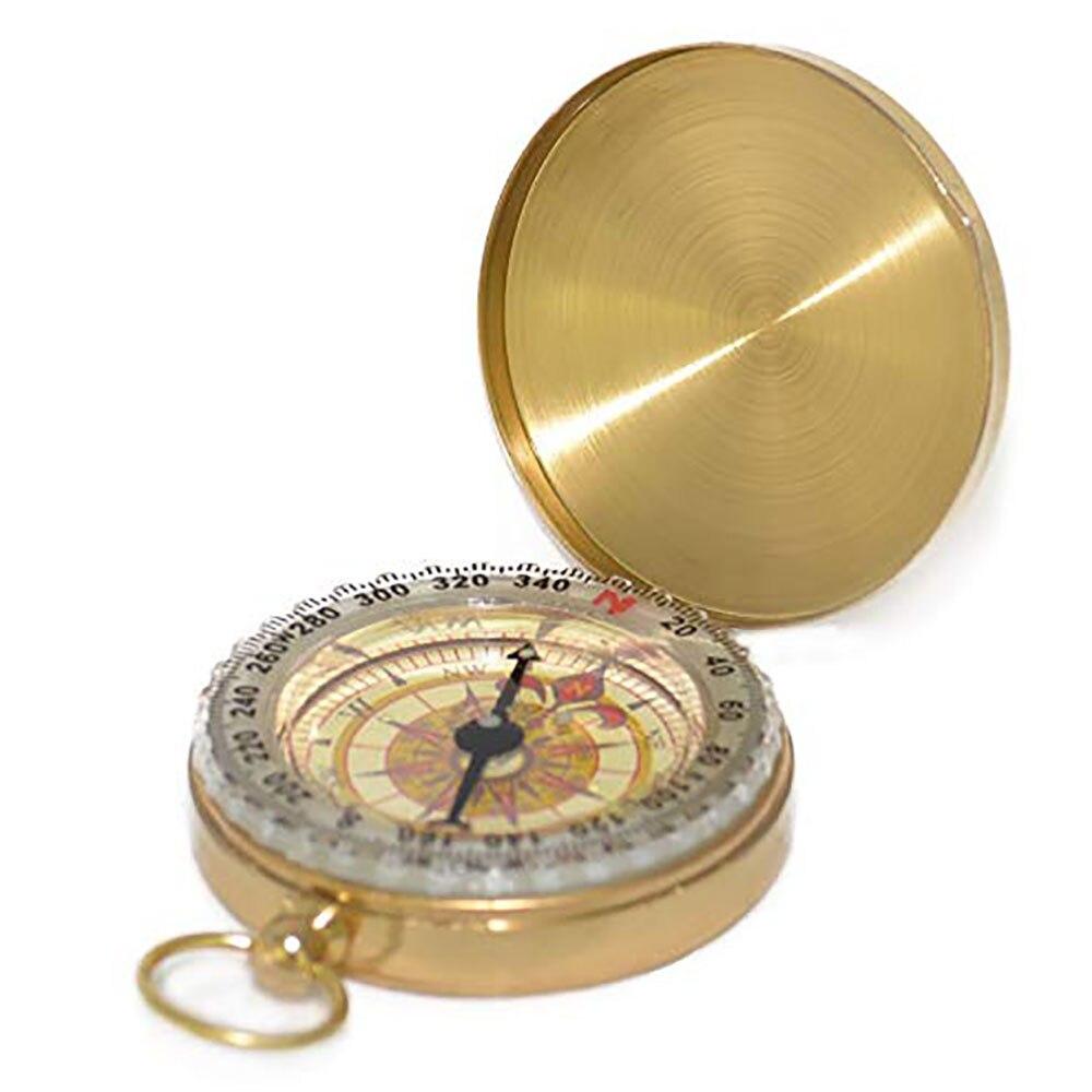 Boussole à clapet en cuivre pur avec boussole de montre de poche lumineuse outil de règle de mesure en métal multifonction extérieur portable
