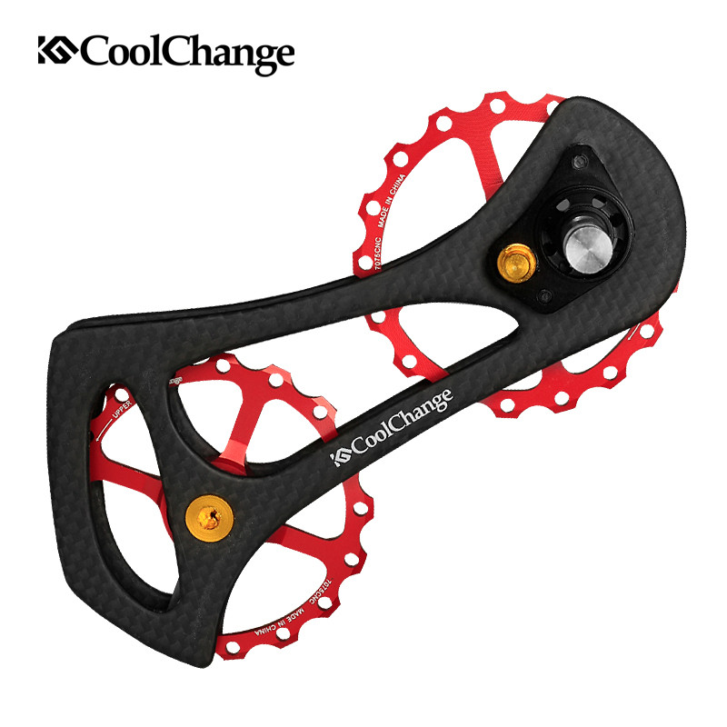 CoolChange 17T Bike Carbon Fiber Ceramic Bearing Bicycle Rear Derailleur Pulley Wheel Kit For 6800 6870 9000 9070 Bicycle Parts