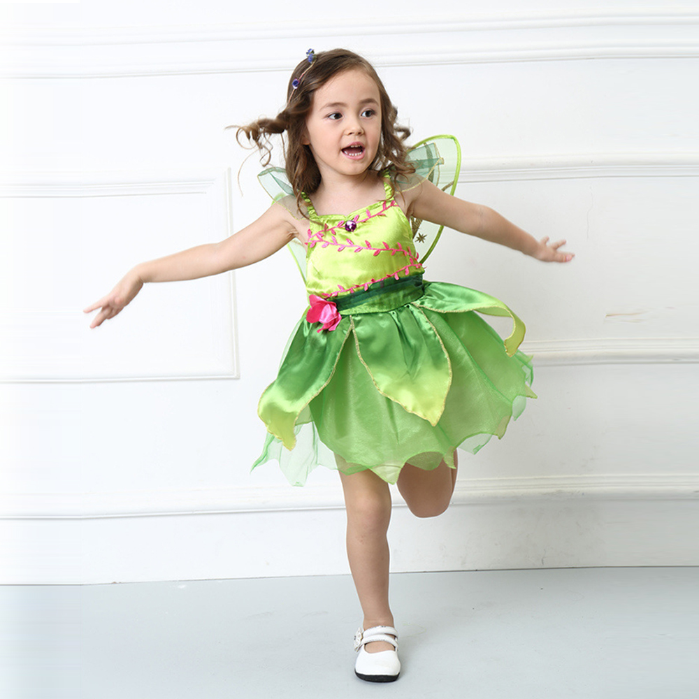 (include wing) Tinkerbell princess Woodland Fairy Dress Halloween Cosplay Costume for Kids Fairy Girls Green Dress with wing -in Girls Costumes from Novelty ...  sc 1 st  AliExpress.com & include wing) Tinkerbell princess Woodland Fairy Dress Halloween ...