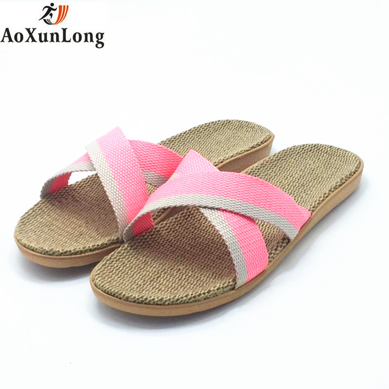 Spring & Summer Slippers Women Flax Weaving Home Slippers Flat Casual Shoes Woman Beach Sandals Women Flip Flops Eur 35-40 Shoes lanshulan bling glitters slippers 2017 summer flip flops platform shoes woman creepers slip on flats casual wedges gold