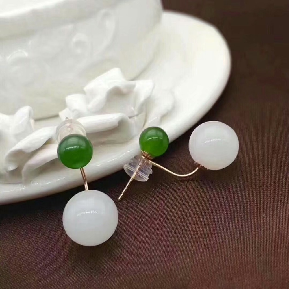 SHILOVEM 18k yellow gold natural White green Jasper stud earrings classic wholesale Fine women Christmas gift myme661010hby in Pendants from Jewelry Accessories