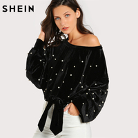 SHEIN Pearl Beaded Asymmetric Shoulder Velvet Pullover Black Womens Sweatshirts Fall Long Sleeve Sexy Pullovers