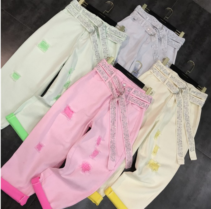 2019 New Spring Summer Hot Drill Double Belt Harem Pants Women Students Holes Jeans Washing Water Candy-colored Ribbon Trousers
