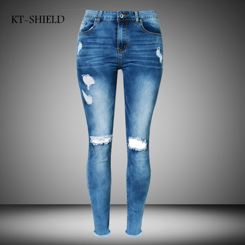 New Women American Apparel Female High Waist Tight Elastic Ankle-Length Denim Pants Fashion Ripped Hole Pure Cotton Jeans Woman new summer vintage women ripped hole jeans high waist floral embroidery loose fashion ankle length women denim jeans harem pants