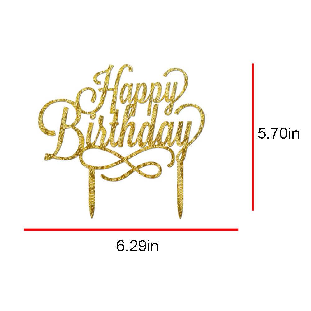 16*11 cm feliz aniversário acrílico bolo topper ferramentas de decoração suprimentos cakes crianças glitter decoração bolo suporte topper festa adereços